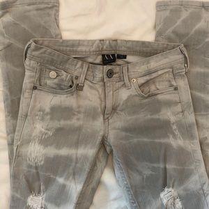 Armani Exchange grey white skinny jeans